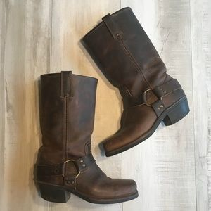 Frye Classic 12R Brown Leather Harness Moto Boots